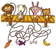 Modèle de jeu de fin du labyrinthe animaux plats vecteur