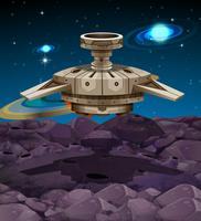 Vaisseau spatial atterrissant sur la surface de la lune vecteur