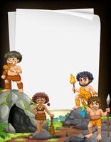 Conception de la frontière avec des hommes des cavernes vivant à la grotte