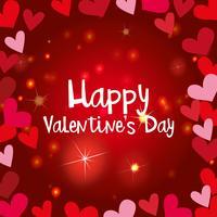 Modèle de carte de Saint Valentin heureux avec des coeurs brillants vecteur