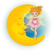 Une fée debout sur une demi-lune endormie vecteur