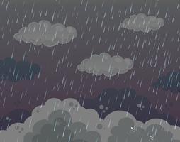 Scène de fond avec de fortes pluies dans un ciel sombre vecteur