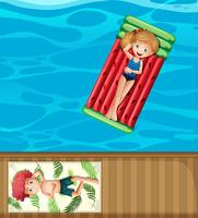 Vacances d'été à la piscine vecteur