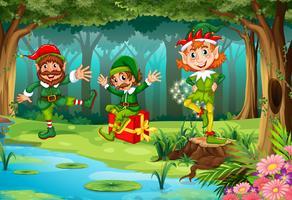 Elfe de Noël en forêt vecteur