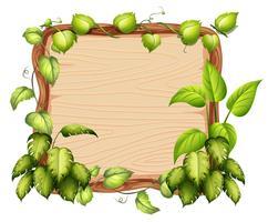 Une bannière en bois avec une feuille verte vecteur