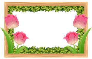 Modèle de cadre avec des fleurs de tulipes roses vecteur