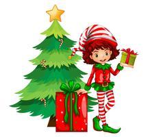 Thème de Noël avec arbre et elfe vecteur