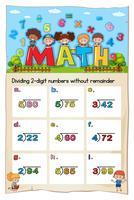 Modèle de feuille de calcul mathématique permettant de diviser deux chiffres vecteur