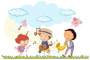 Personnes jouant de la musique dans le parc