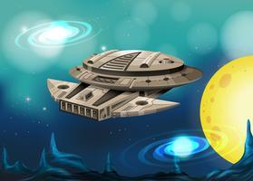 Vaisseau spatial volant dans l'univers vecteur