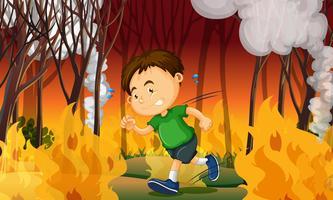 Un garçon coincé dans un feu de forêt