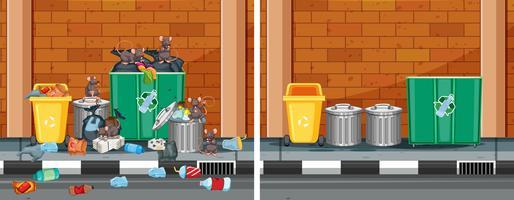 Une comparaison entre rue propre et sale vecteur