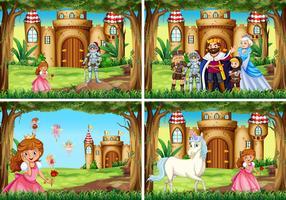 Quatre scènes de fond avec la princesse et le chevalier près du palais vecteur