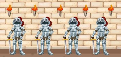 Quatre chevaliers debout devant le mur du château