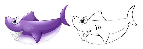 Contour d'animaux pour requin vecteur