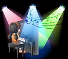 Fille jouant du piano sur scène vecteur