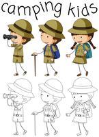 Personnage de camping enfants Doodle vecteur