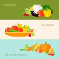 Jeu de bannière de légumes vecteur