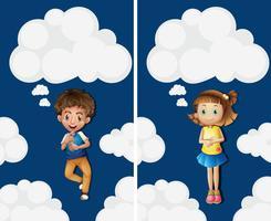 Garçon et fille voler dans le ciel vecteur