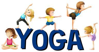 Conception de polices avec mot yoga vecteur
