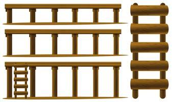 Échelle et planchers en bois vecteur