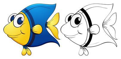 Contour d'animaux pour poissons mignons vecteur