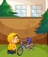 Homme volant de vélo dans le parc vecteur