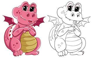 Contour animalier pour petit dragon vecteur