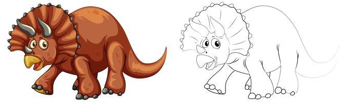 Doodle animal pour dinosaure tricératops vecteur