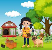 Une fille tenant un engrais naturel vecteur