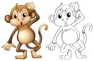 Griffonnage animal de trait pour singe vecteur