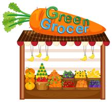 Magasin de fruits et légumes biologiques vecteur