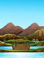 Scène de fond avec pont sur la rivière vecteur