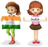 Filles avec drapeau indien vecteur