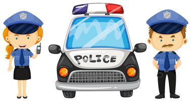 Deux policiers près de la voiture de police vecteur