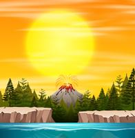 Une scène de coucher de soleil de nature vecteur