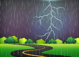 Road trip sous l'orage nocturne vecteur