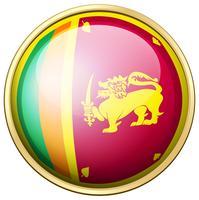 Drapeau du Sri Lanka sur un bouton rond vecteur