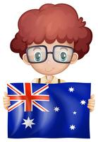 Joli garçon tenant le drapeau de l'Australie vecteur