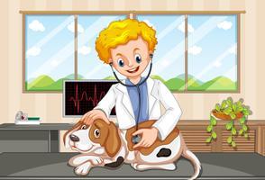Vétérinaire et chien à la clinique vecteur