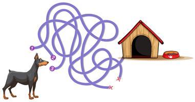 Modèle de plateau avec chien à la maison vecteur