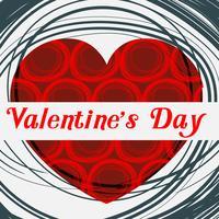 Modèle de carte Valentine avec coeur rouge