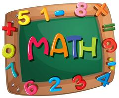 Mots mathématiques sur cadre en bois avec chiffres vecteur