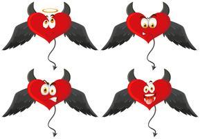 Quatre coeurs de diable avec des expressions faciales vecteur