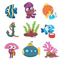 conception de la collection d'animaux de l'océan vecteur