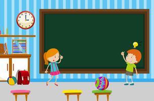Garçon et fille écrit sur le tableau noir dans la salle de classe vecteur