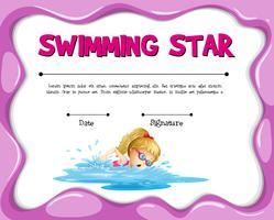 Modèle de certificat étoile de natation avec fille nageant vecteur
