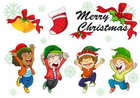Modèle de carte de Noël enfants dansant vecteur