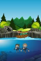 Personnes plongeant sous le lac vecteur