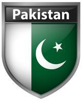 Drapeau du Pakistan sur le badge vecteur